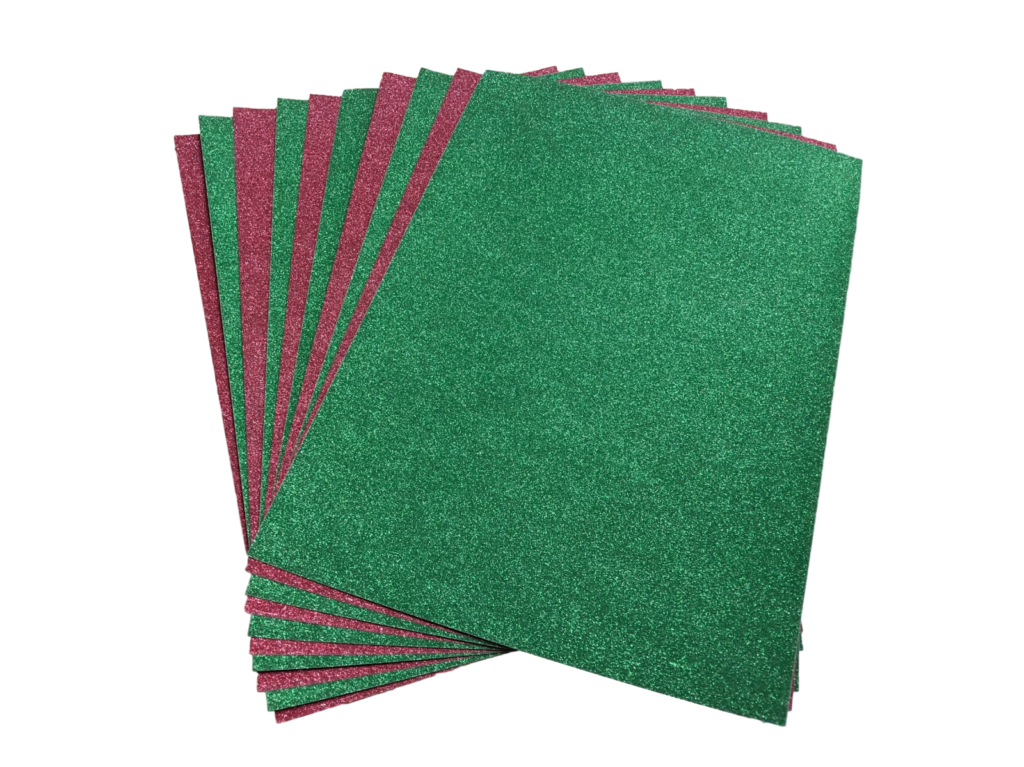 A4 Red  Green Glitter Card No Shed x 10 Sheets  Hobby