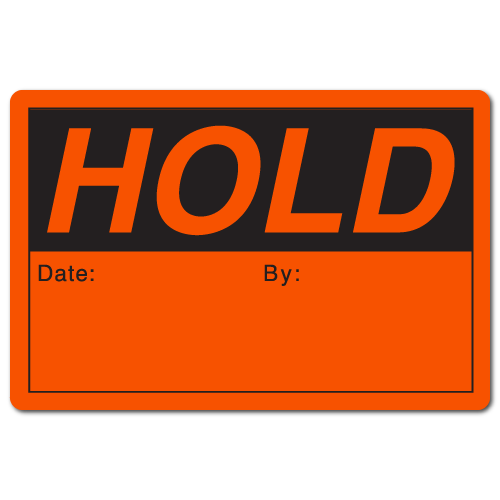 HOLD 2 x 3 Rectangle Black on Fluorescent Red Stickers