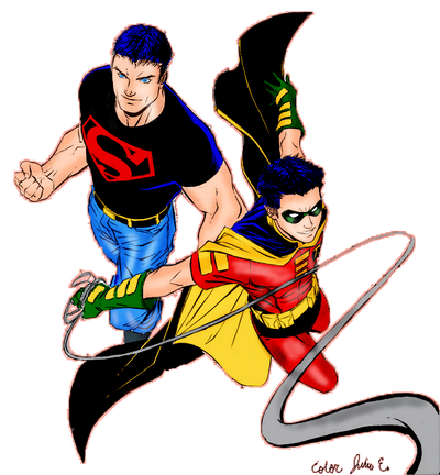 Superboy and Robin by Gabrielloki on DeviantArt