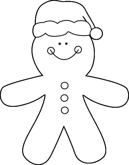 Black and White Gingerbread Santa Clip Art  Black and