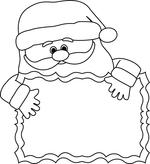 Black and White Santa Sign Clip Art  Black and White