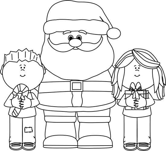 Black and White Santa with Kids Clip Art  Black and White