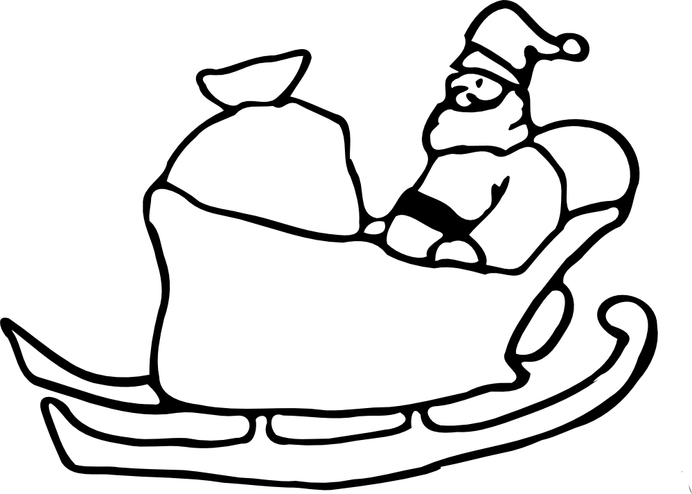 Santa Clip Art Black And White  Clipartsco