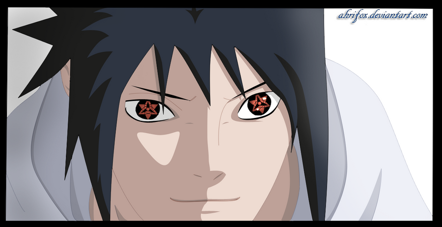 Smiling sasuke manga 580  coloured by Ahrifox on DeviantArt