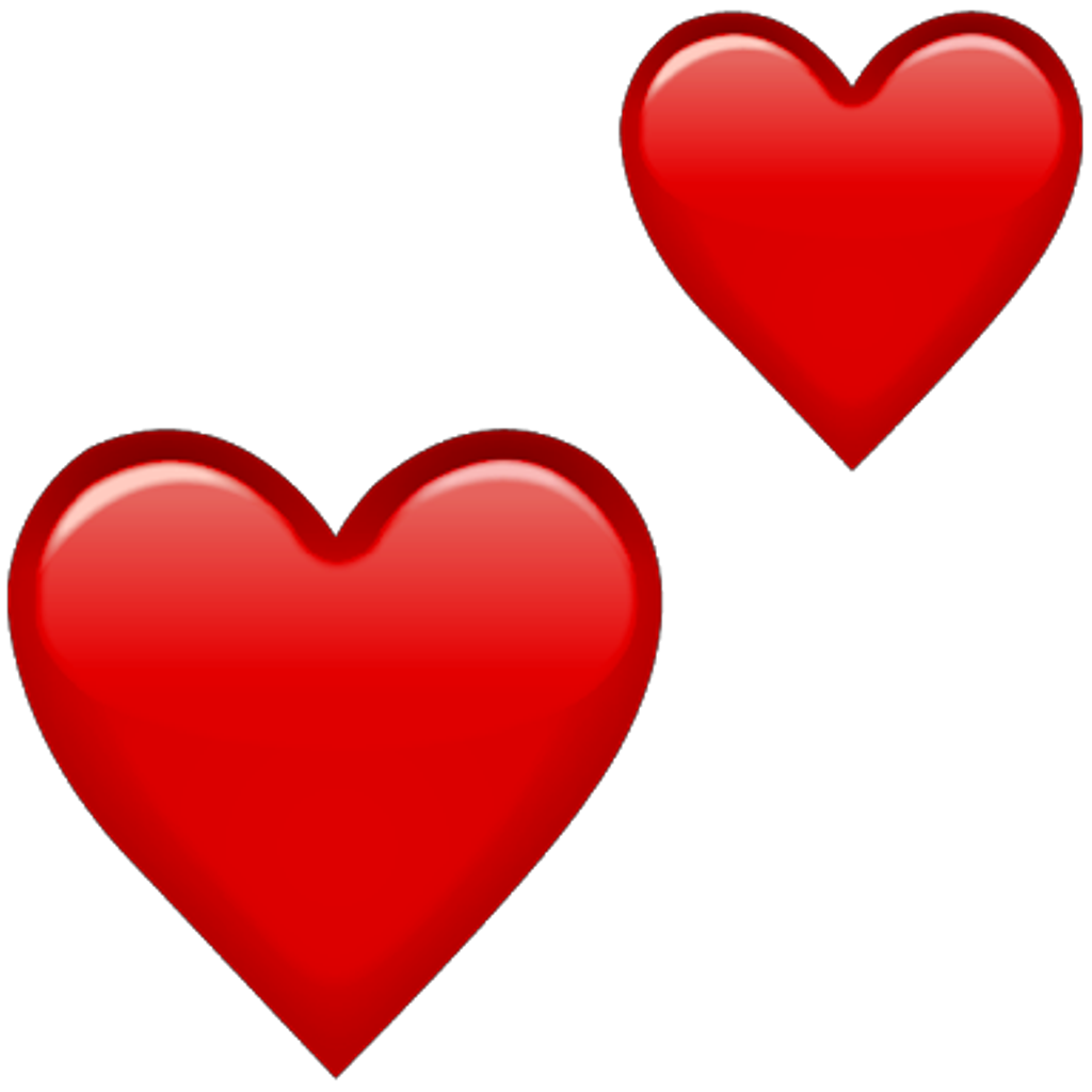Emoji Red Hearts Png Double