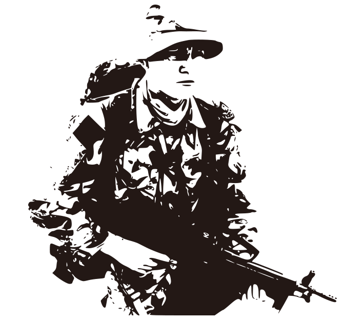 Wall decal Army Soldier Military  Black and white hand