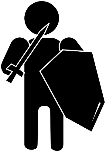 Silhouette vector illustration of soldier with armour