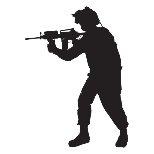 Soldier pointing rifle silhouette  Transparent PNG  SVG
