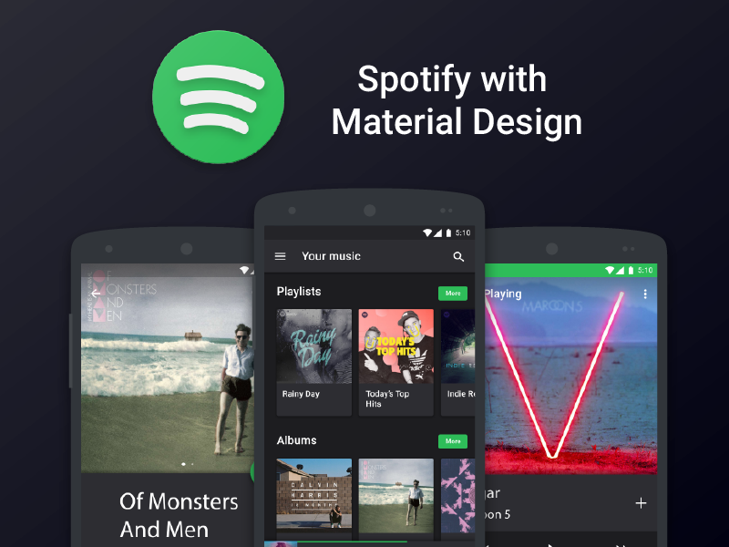 Spotify Material concept  Uplabs