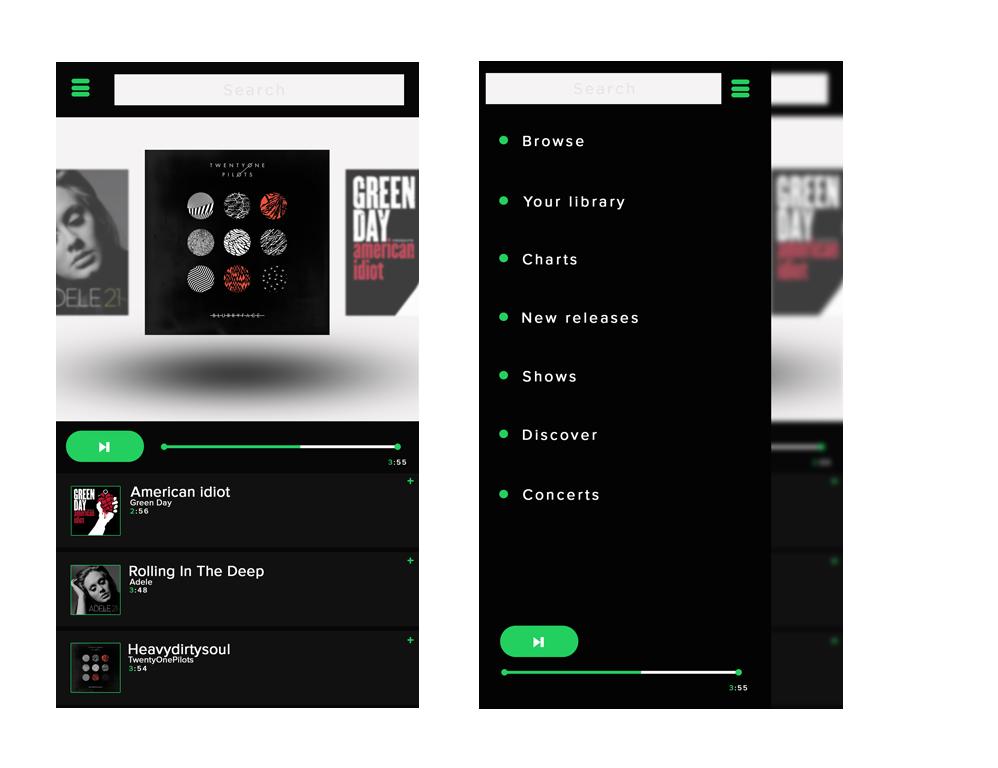 Spotify app design on Behance
