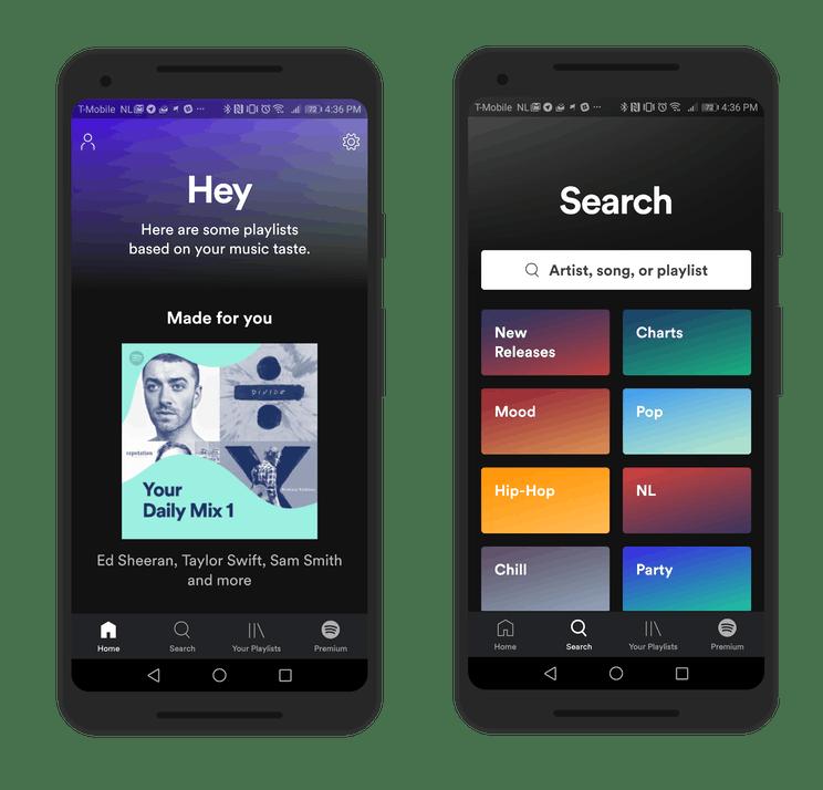 Nieuwe gebruikersinterface Spotify rolt uit naar nieuwe