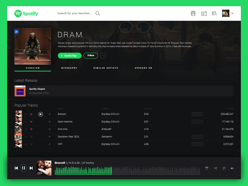 Spotify Artist Page Redesign by Via Union on Dribbble