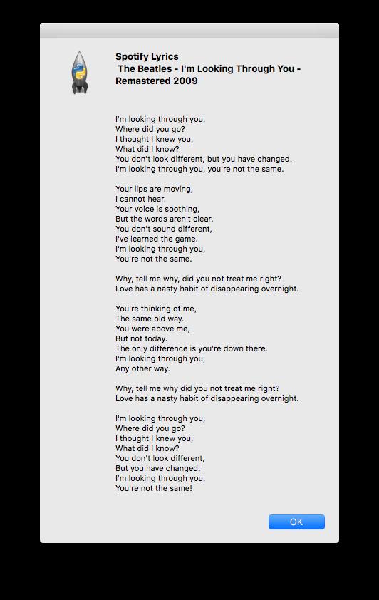 GitHub  yask123SpotifyLyrics View lyrics of current