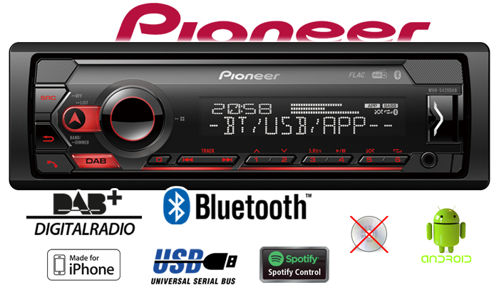 Pioneer MVHS420DAB Bluetooth DAB Spotify MP3 USB Android