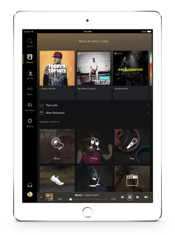 Spotify for iPad overhauled with dark UI gains Your Music