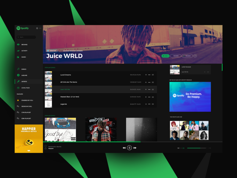 Spotify Windows Application ReDesign by Marco Henke on