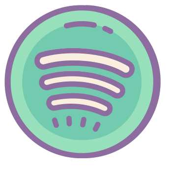 Spotify icons in Cute Color style for graphic design and