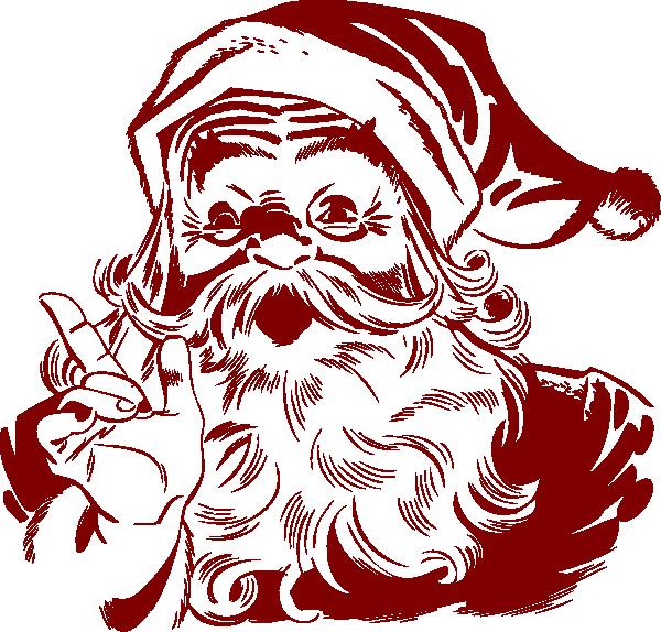 Vintage Santa Claus Clip Art  Dark Red Santa clip art