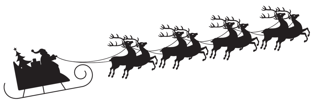 Santa with Sleigh Silhouette Transparent PNG Clip Art