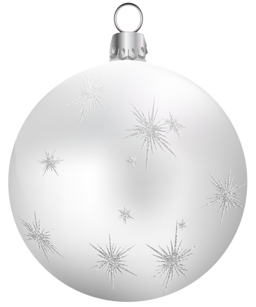 Transparent White Christmas Ball PNG Clipart  White