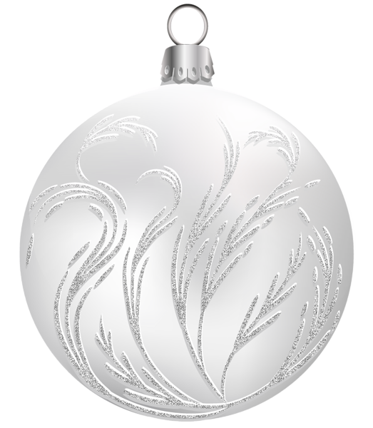 Transparent White Christmas Ball PNG Picture  White