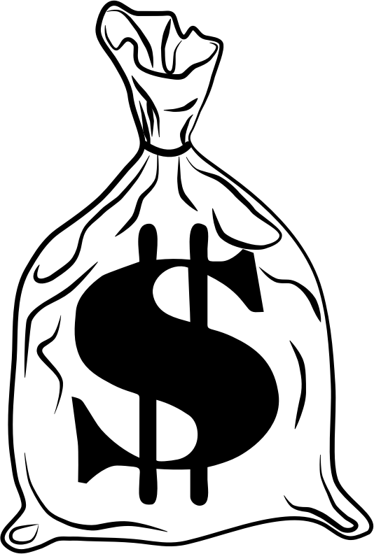 Money Bags Black And White Clipart  SEMA Data Coop