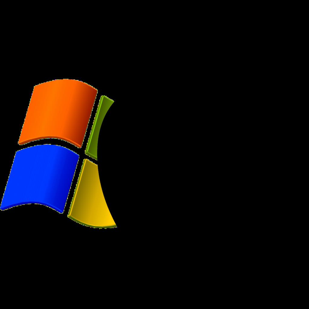 Windows XP logo superimposed by Apple logo  The Mac