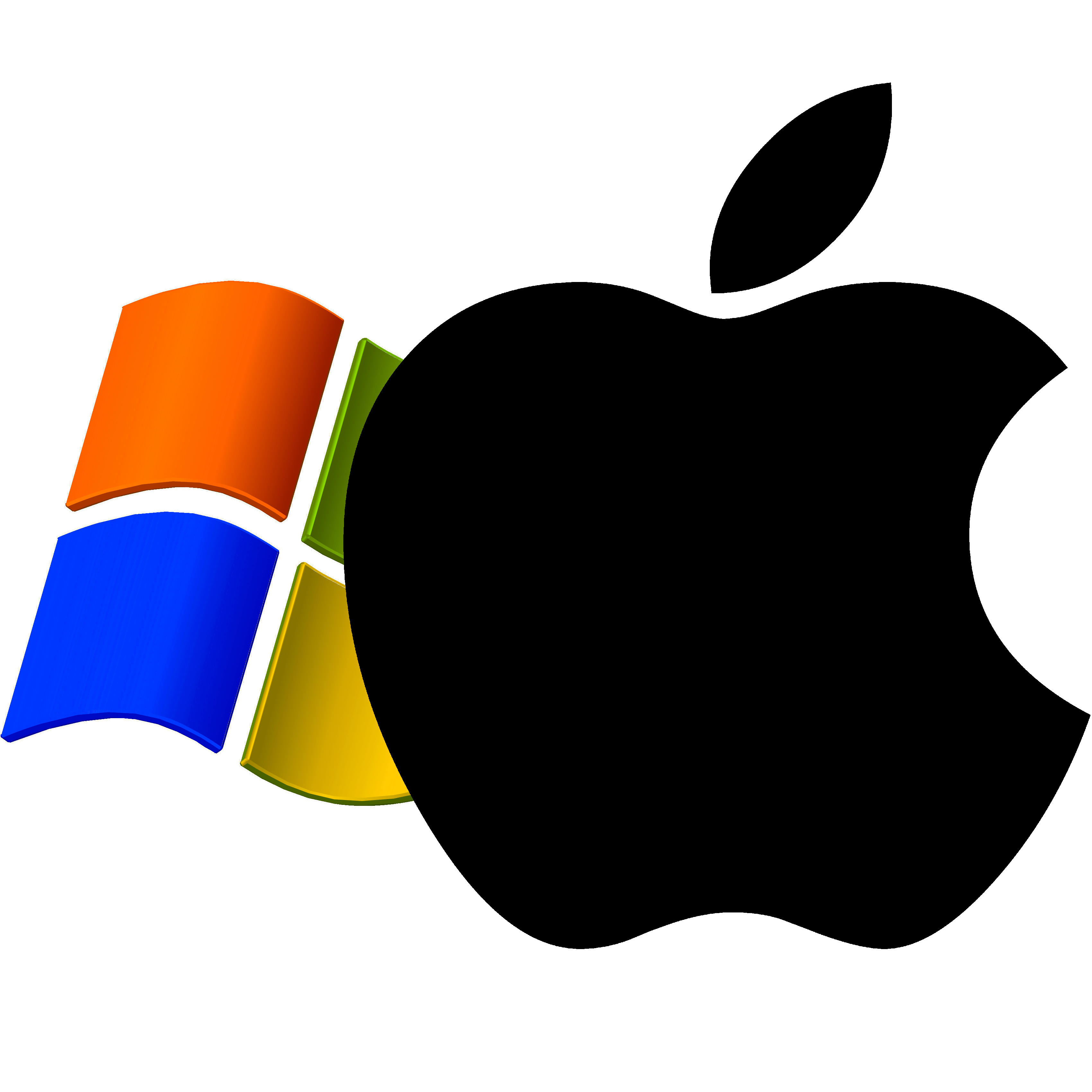Windows XP logo superimposed by Apple logo   The Mac ... - Windows Apple Logo