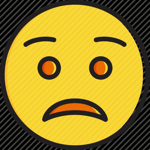 Emoticon face smiley worried icon